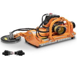 slagklippare med hydraulisk sidoförsjutning och disk formet kantklippare på arm för fruktplantage traktorer mod interfila 130