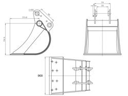 skopa till minigrävare bhb 900