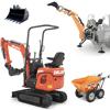 bandgrävare minigrävare och bakmonterat traktorgrävare deleks