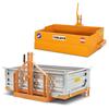 balanserad skopa med tipp och transportlådor för traktorer